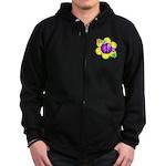 Peace Blossoms /purple Zip Hoodie (dark)