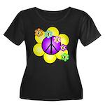 Peace Blossoms /purple Women's Plus Size Scoop Nec