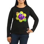 Peace Blossoms /purple Women's Long Sleeve Dark T-
