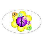 Peace Blossoms /purple Oval Sticker (10 pk)