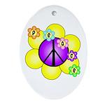 Peace Blossoms /purple Oval Ornament