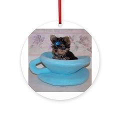 Yorkshire Terrier Puppy Ornament (Round)