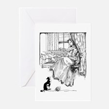 Reading Lady in window Greeting Cards (Pk of 20)