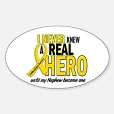 Never Knew A Hero 2 GOLD (Nephew) Oval Decal
