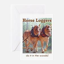 Belgian Horse Logging Greeting Card