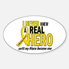Never Knew A Hero 2 GOLD (Niece) Oval Decal