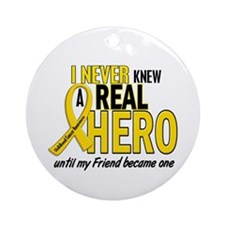 Never Knew A Hero 2 GOLD (Friend) Ornament (Round)