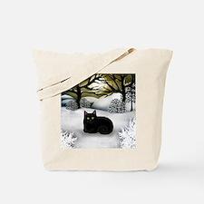 BLACK CAT WINTER SUNSET Tote Bag