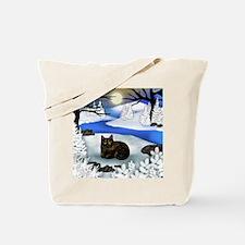 TORTOISESHELL CAT FROZEN RIVER Tote Bag