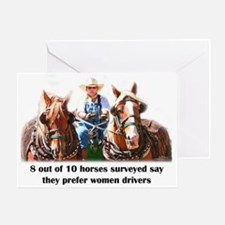 Women Drivers Draft Horse Greeting Card