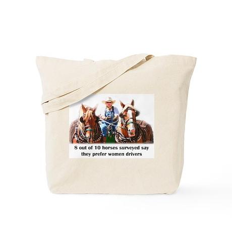 Women Drivers Draft Horse Tote Bag