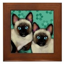 SIAMESE CATS FLOWERS Framed Tile