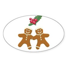 Gingerbread Men Oval Decal