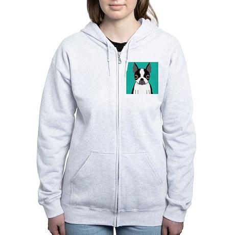Boston Terrier (Dark Brindle) Women's Zip Hoodie