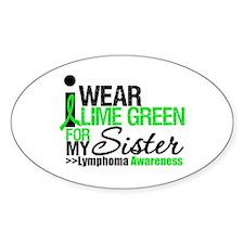 I Wear Lime Green For Sister Oval Sticker (10 pk)