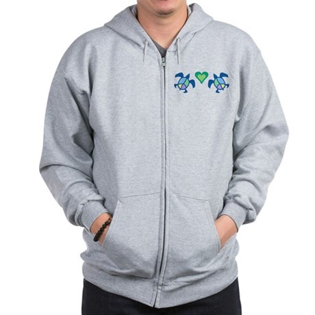 Peace Heart Sea Turtles Zip Hoodie