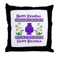 Happy Kwanzaa Vase Throw Pillow
