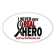 Never Knew A Hero 2 MELANOMA (Dad) Oval Decal