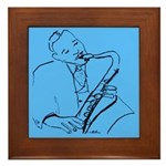 Blue Saxplayer Framed Tile