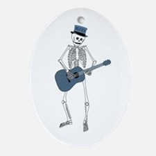 Bluesman Skeleton Oval Ornament