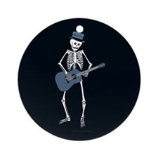 Bluesman Skeleton Ornament (Round)