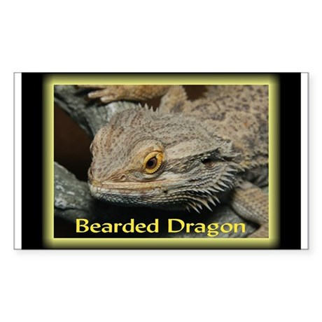 Bearded Dragon Neon Rectangle Sticker