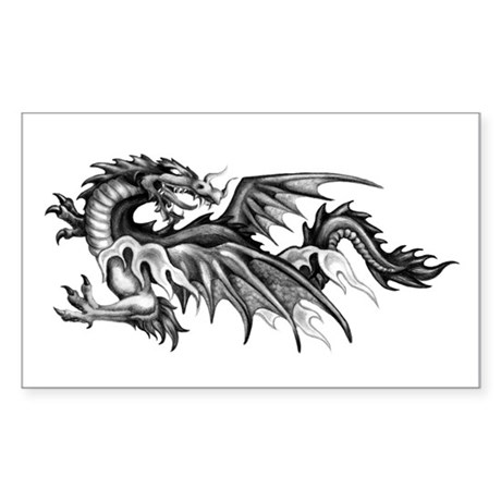 Dragon Looking Back Rectangle Sticker