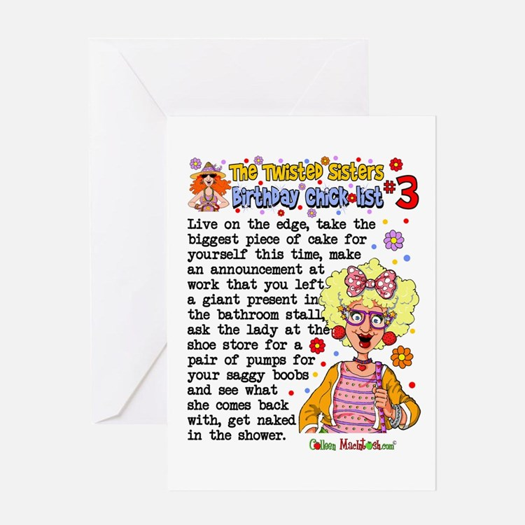 Twisted Sister Chicklist #3 Greeting Card