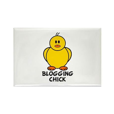 Blogging Chick Rectangle Magnet