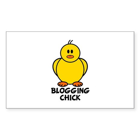 Blogging Chick Rectangle Sticker