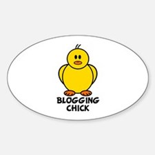 Blogging Chick Oval Decal