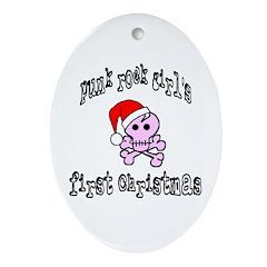 PunkRock Girls First Christmas Oval Ornament