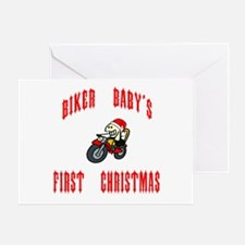 Biker Baby's First Christmas Greeting Card