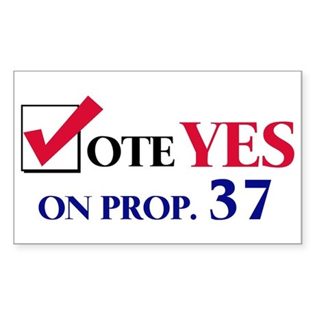Vote YES on Prop 37 Rectangle Sticker