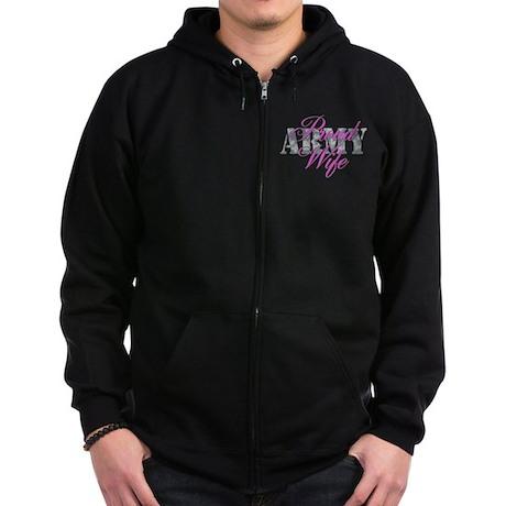 Proud Army Wife ACU Zip Hoodie (dark)