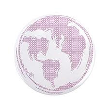 "World Peace (pink peace symbols) 3.5"" Button"