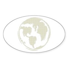 Yellow Hippie Symbol World Peace Oval Decal