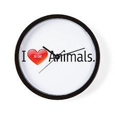i Love *TO EAT* Animals Wall Clock
