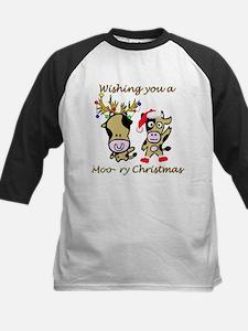 Cow Christmas Kids Baseball Jersey