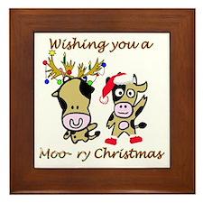 Cow Christmas Framed Tile