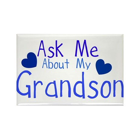Ask me about my Grandson Rectangle Magnet