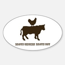 Brown Chicken N Cow W/Txt Oval Decal