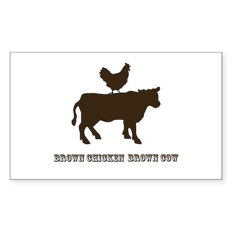 Brown Chicken N Cow W/Txt Rectangle Sticker