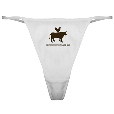 Brown Chicken N Cow W/Txt Classic Thong