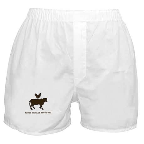 Brown Chicken N Cow W/Txt Boxer Shorts