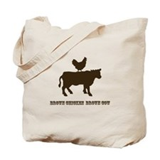 Brown Chicken N Cow W/Txt Tote Bag