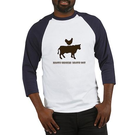 Brown Chicken N Cow W/Txt Baseball Jersey