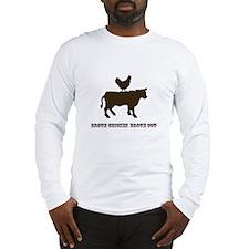 Brown Chicken N Cow W/Txt Long Sleeve T-Shirt
