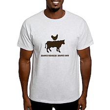 Brown Chicken N Cow W/Txt T-Shirt