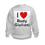 I Love Rudy Giuliani (Front) Kids Sweatshirt